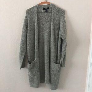Heather grey wool longline cardigan